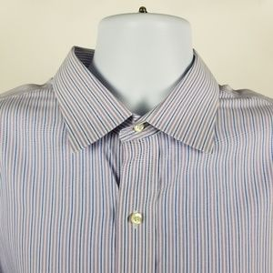 Brooks Brothers Non Iron Purple Blue Striped 17.5
